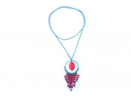Náhrdelník kruh s kamenem červený