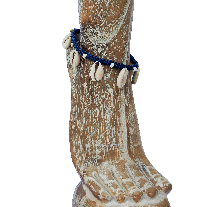 Levně Kotníkový náramek s mušličkami modrý