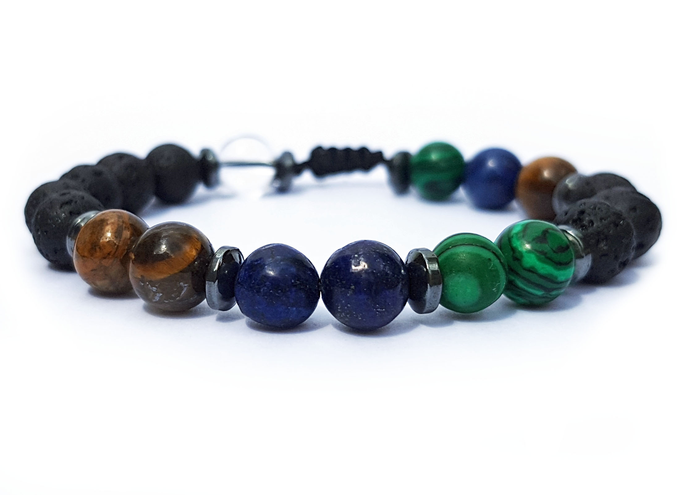 Levně Náramek z minerálů pro Býka - tygří oko, malachit a lapis lazuli