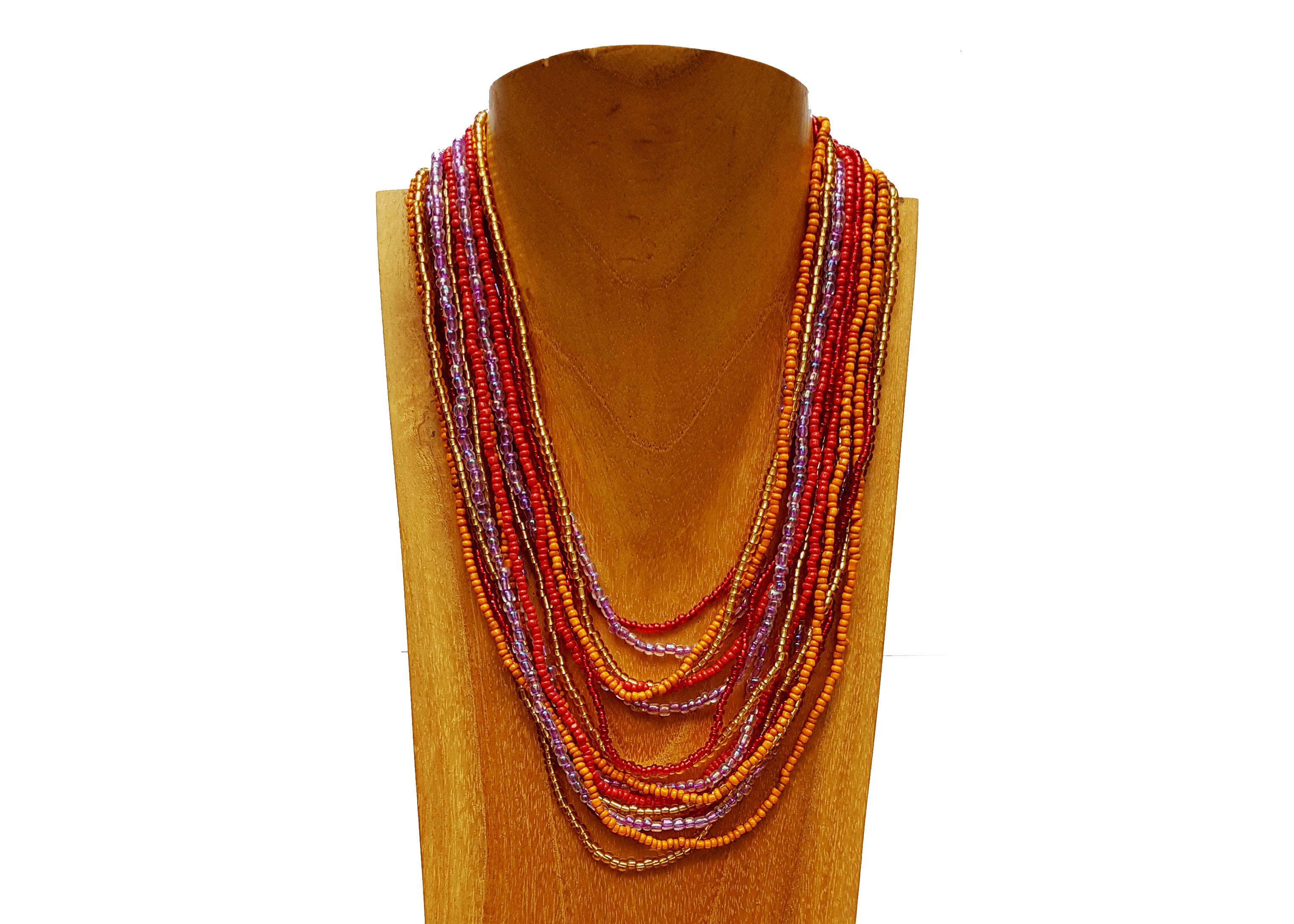 Levně Masivní náhrdelník s ebenovým zapínáním červený