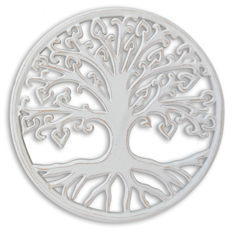 Levně Strom života na zeď kulatý - bílá patina Velikost: 30 cm