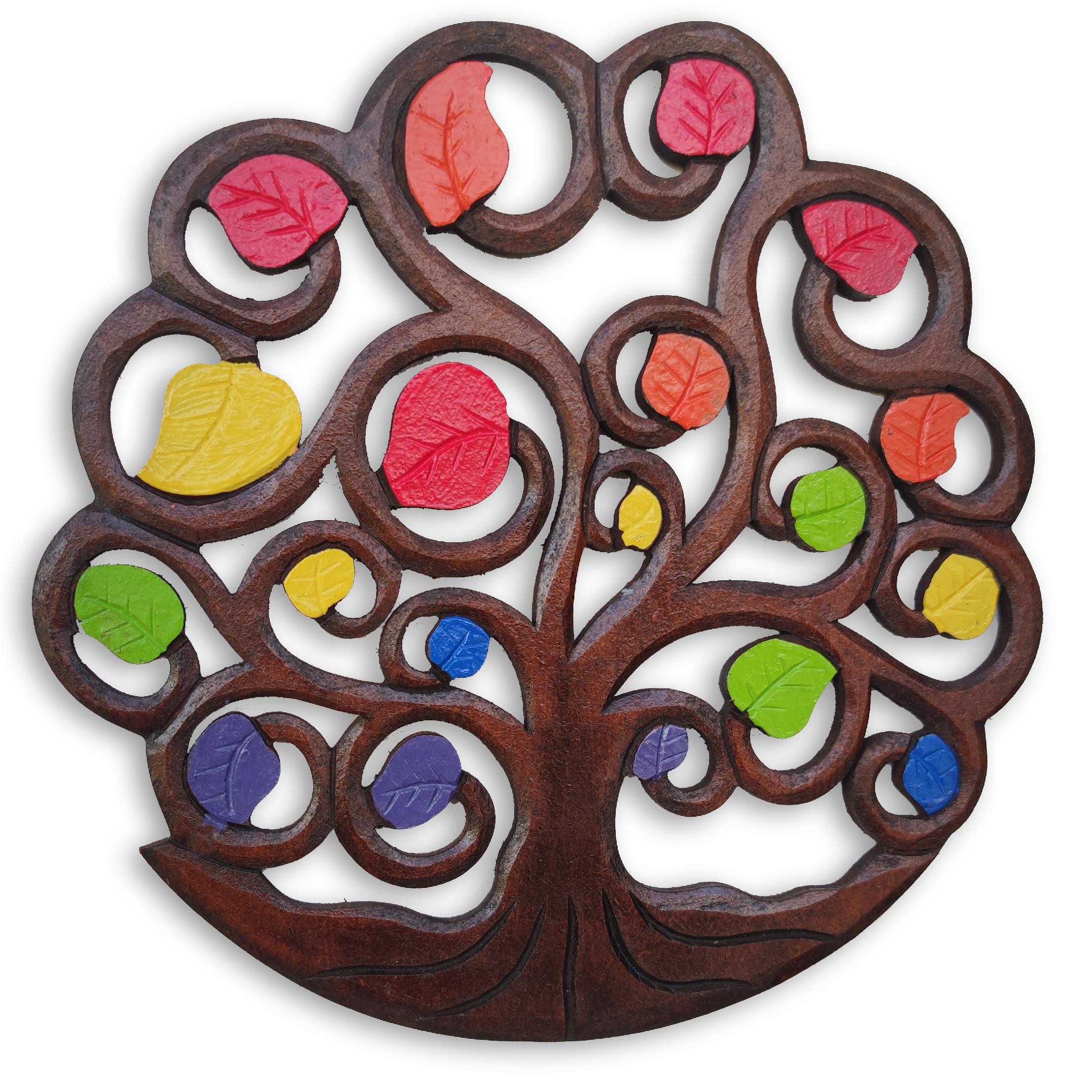 Dekorace na zeď Strom života - barevné listy