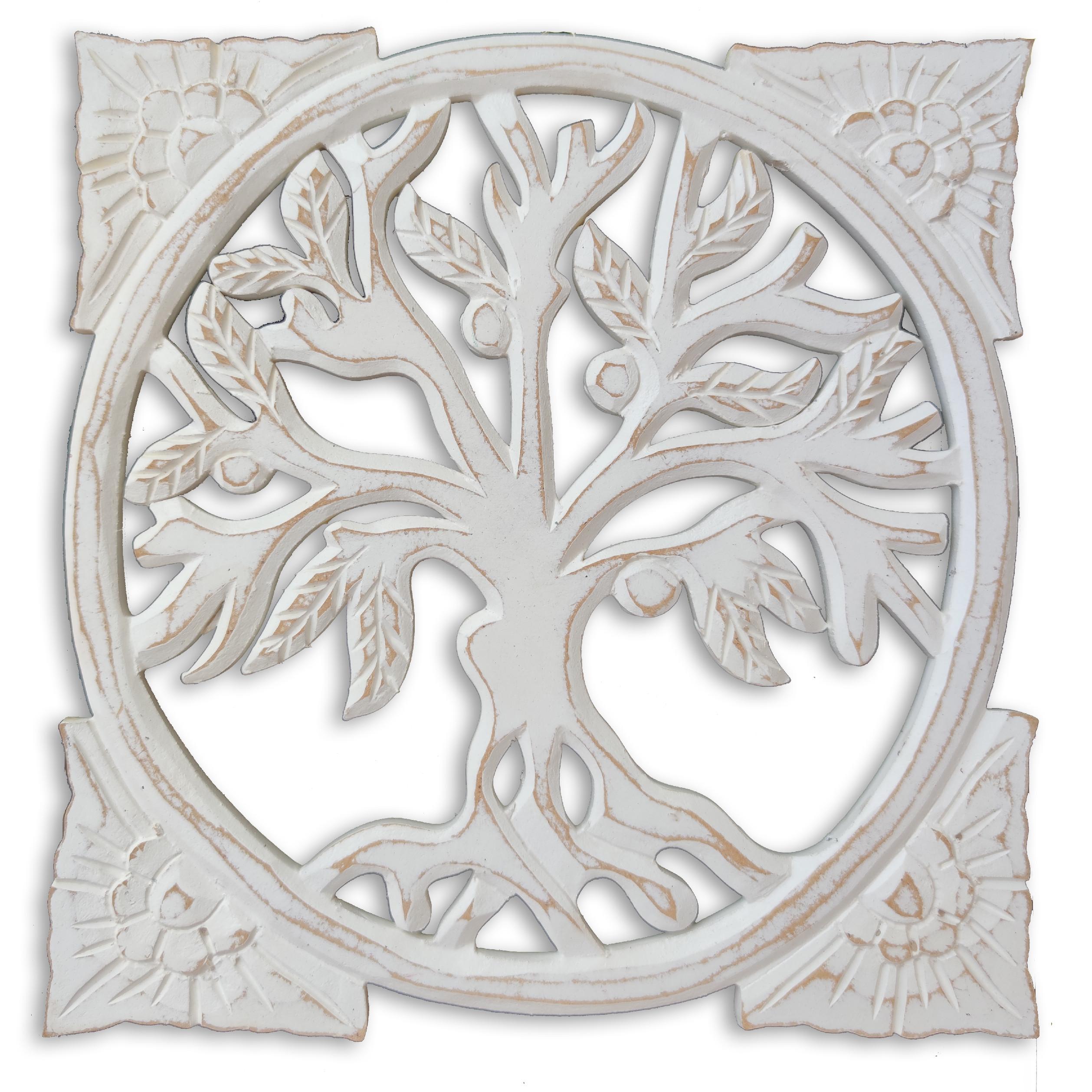 Levně Dekorace na zeď Strom života čtverec - bílá patina Velikost: 30 cm