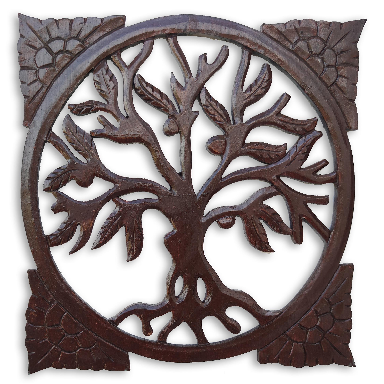 Levně Dekorace na zeď Strom života čtverec - hnědý Velikost: 30 cm
