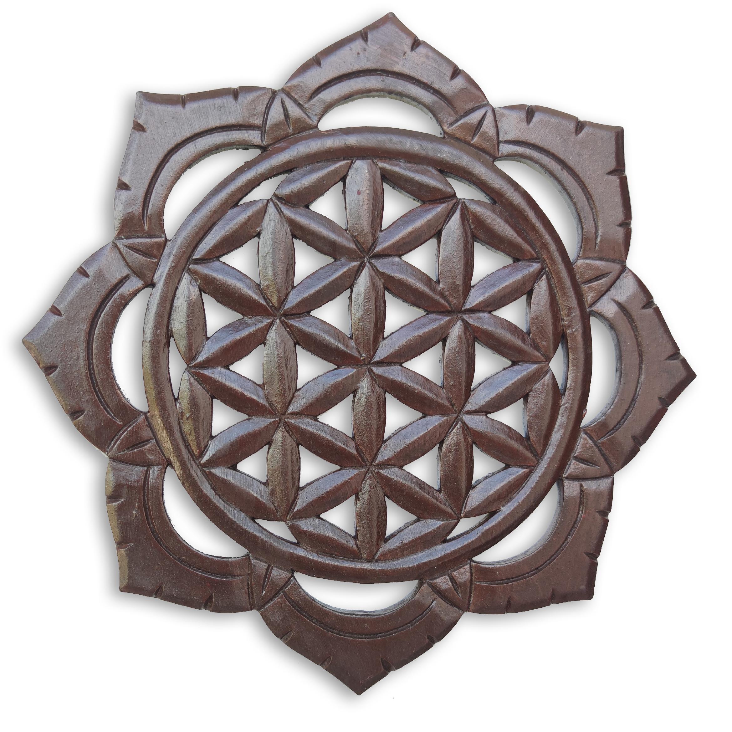 Dekorace na zeď Květ života - hnědý Velikost: 30 cm