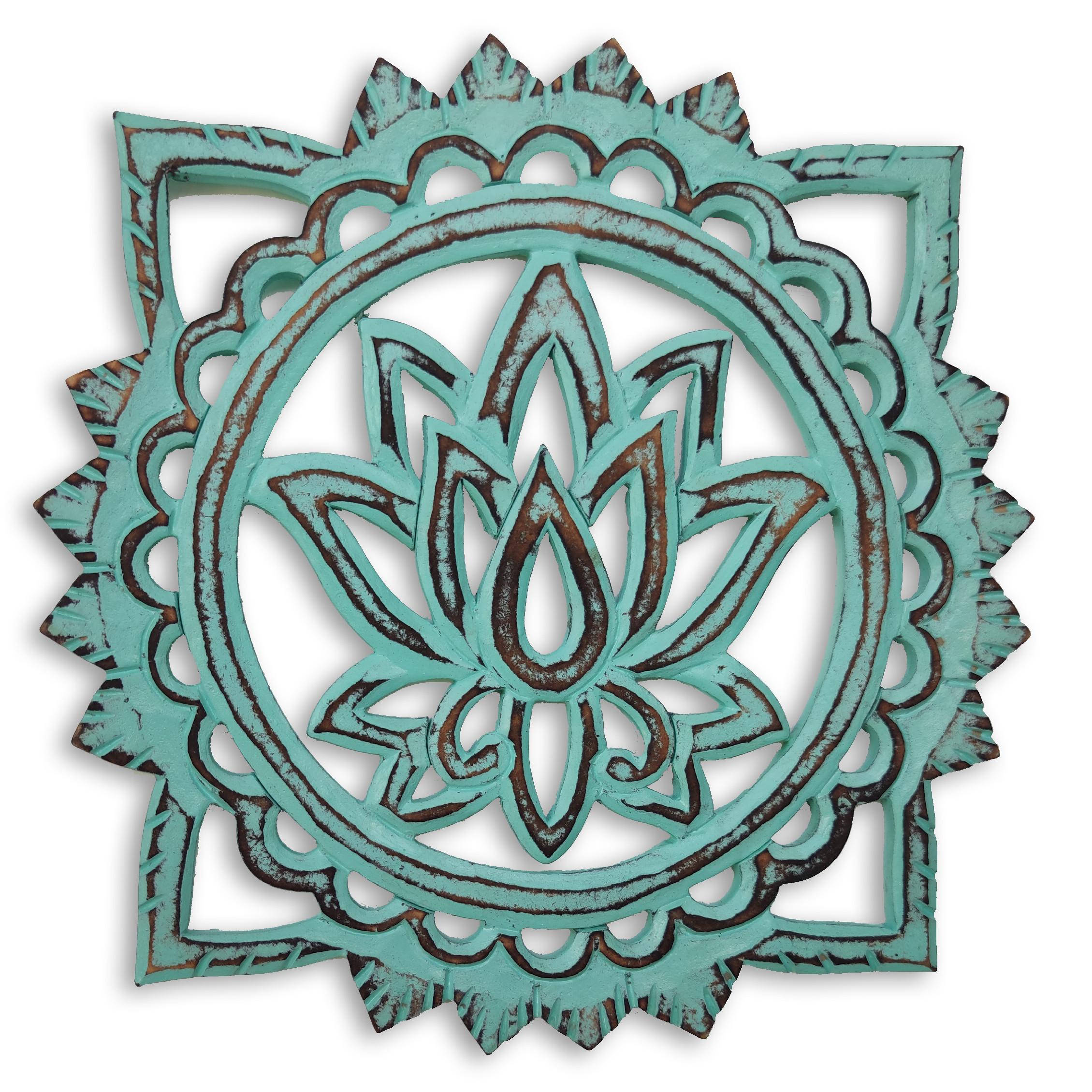 Dekorace na zeď Lotosový květ - akvamarín Velikost: 20 cm