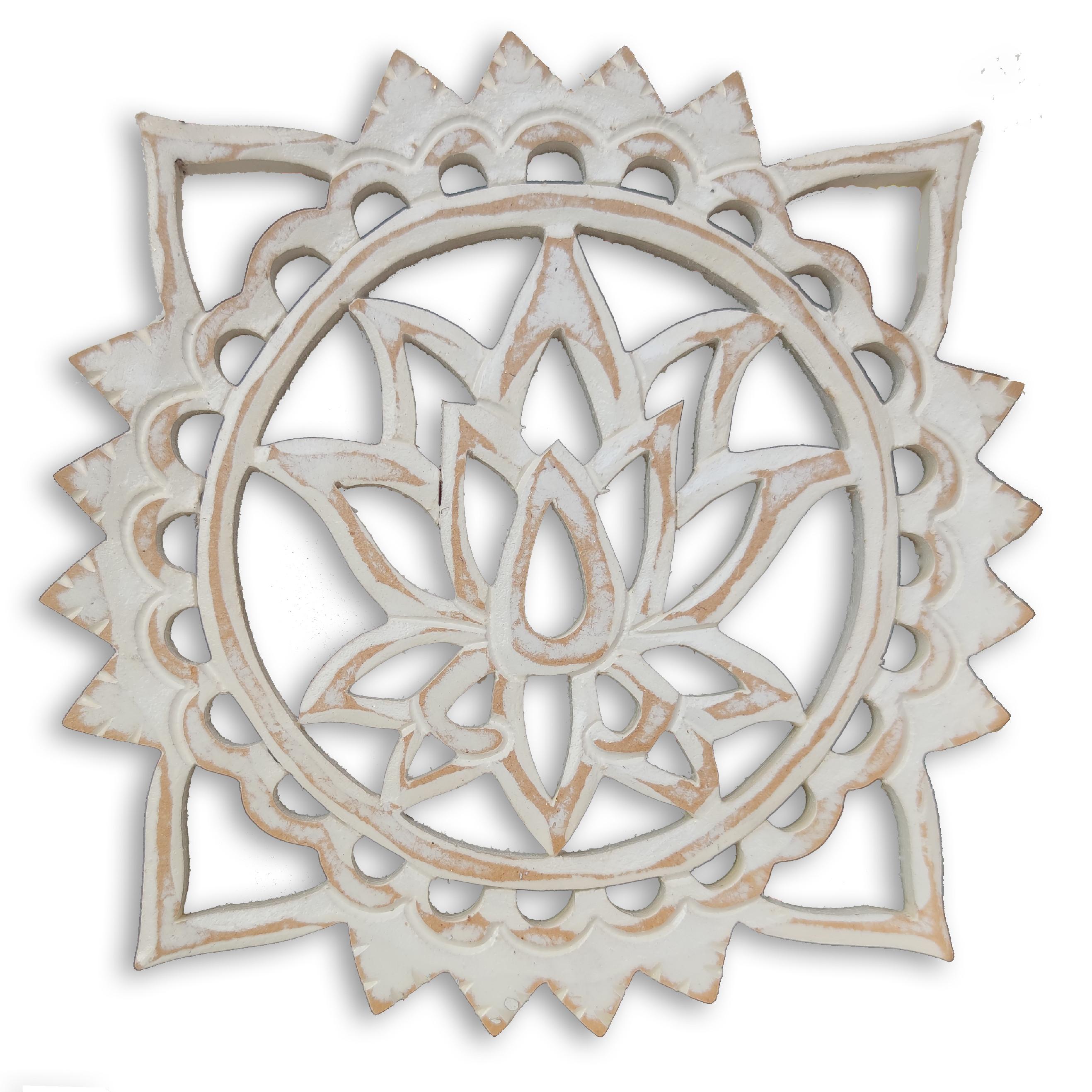 Levně Dekorace na zeď Lotosový květ - bílá patina Velikost: 20 cm