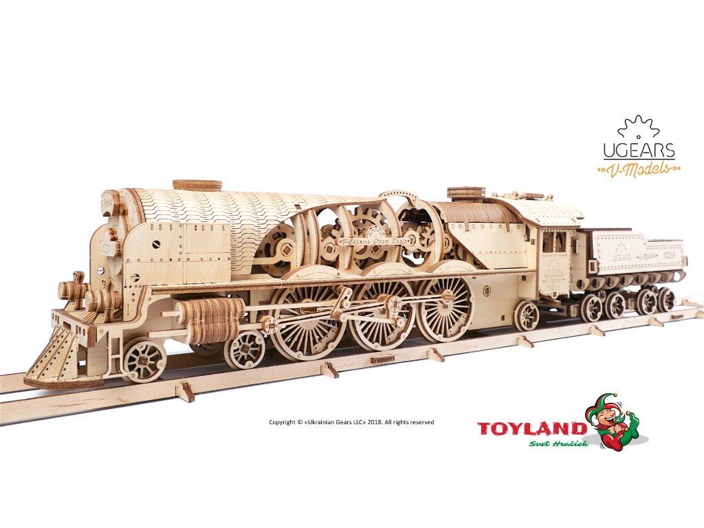 Ugears V Express Steam Train with Tender Model Kit 6