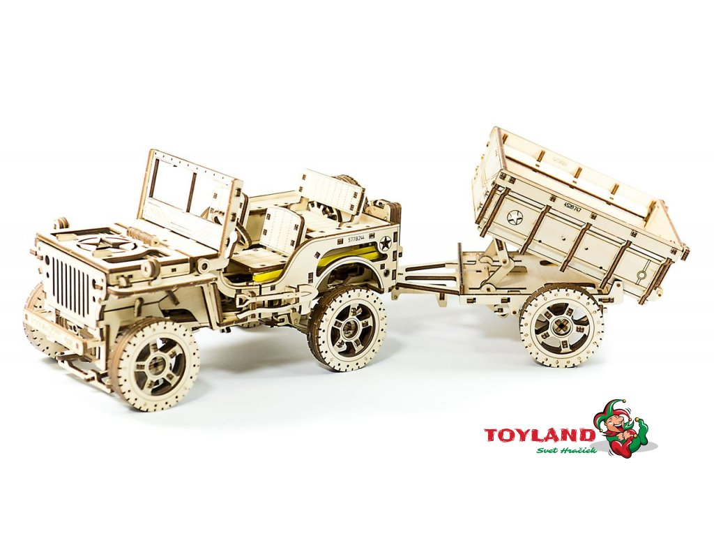 0036113 wooden city wooden city trailer for 4x4 jeep wooden model kit 5906874128114 13