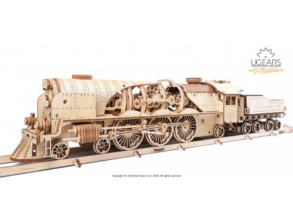 Ugears V Express Steam Train with Tender Model Kit 6