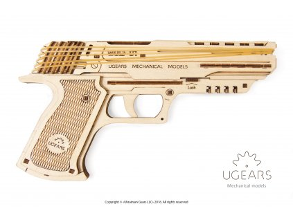 Ugears Handgun Mechanical Model 1 Title with Logo