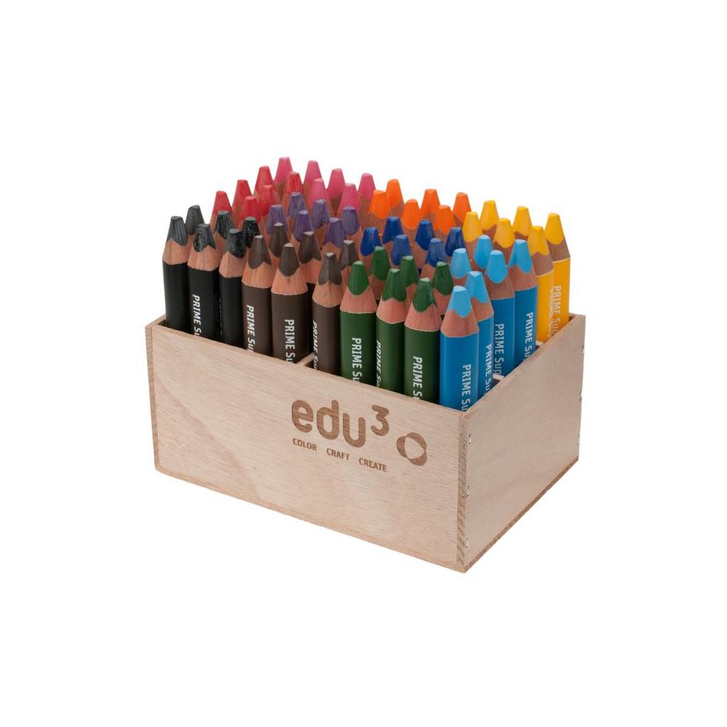 EDU1501060 EDU3 Super Jumbo trojhranné pastelky 3v1 ve dřevě H60 tuha 10 mm 10 barev ve stojanu ze dřeva