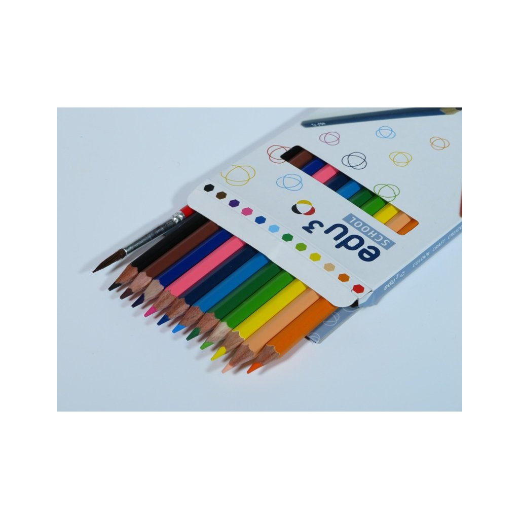 EDU3 AQUA pastelky šestihranné, tuha 3 mm, 12 barev + 1 štětec