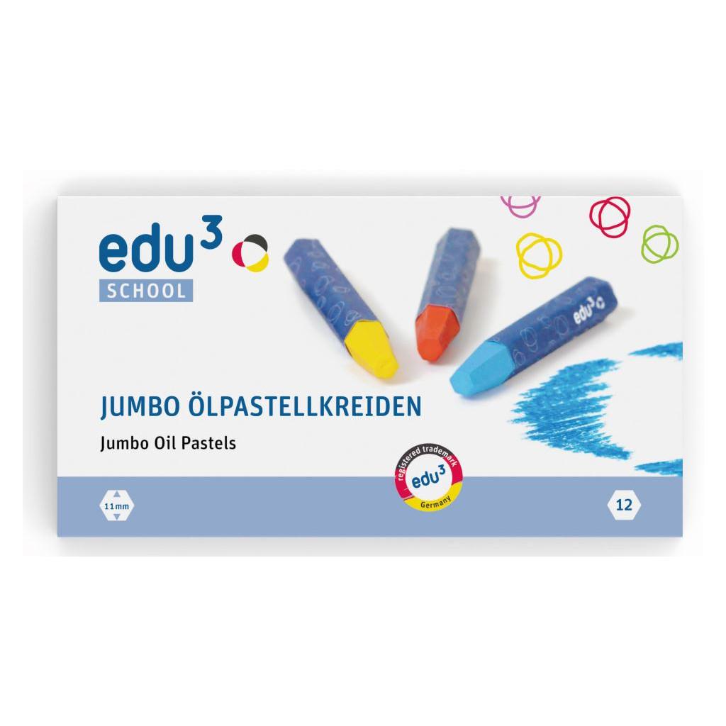 EDU3111012 EDU3 Olejové pastely Jumbo K12 12 barev, baleno v papírové krabičce