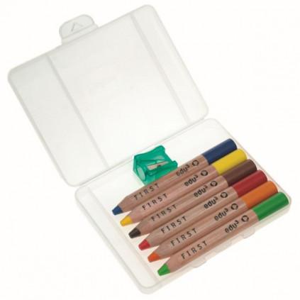 EDU1614006 EDU3 Extra měkké Jumbo pastelky ve dřevě kulaté tuha 8 mm PO6S 6 barev a 1 ořezávátko v plastovém kufříku
