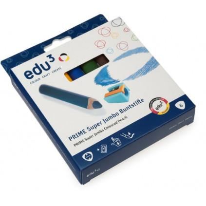 EDU1501006 EDU3 Super Jumbo trojhranné pastelky 3v1 ve dřevě K06 tuha 10 mm 6 barev + 1 ořezávátko v papírové krabičce 03