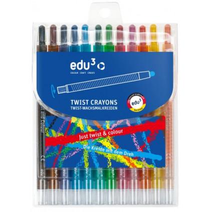 EDU3146012 EDU3 Twist pastelky vysouvací PP12 12 barev baleno v plastovém pouzdru