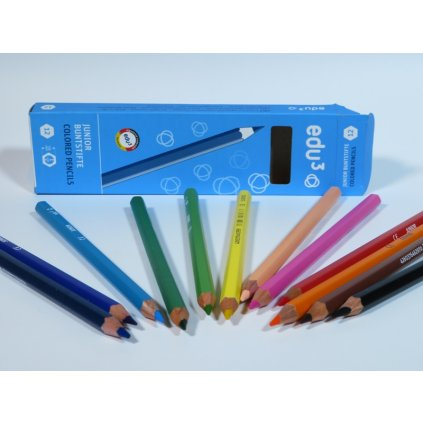 EDU3 Junior šestihranné pastelky, tuha 4 mm, 12 barev v papírové krabičce