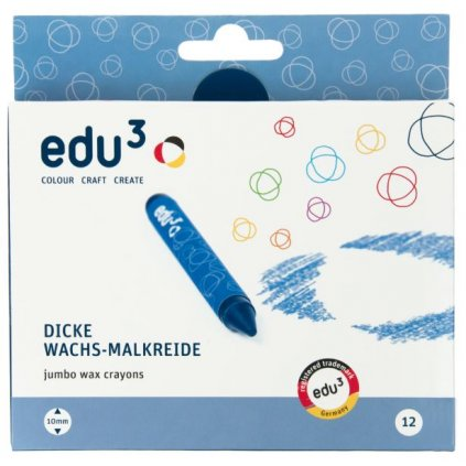 EDU3131012 EDU3 Voskové pastely Jumbo kulaté K12 12 barev baleno v papírové krabičce