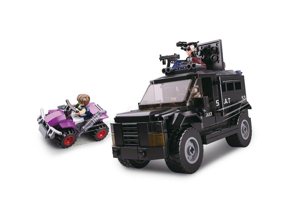 Sluban Policie M38-B0653 SWAT vyzbrojený vůz a zloděj na 4-kolce