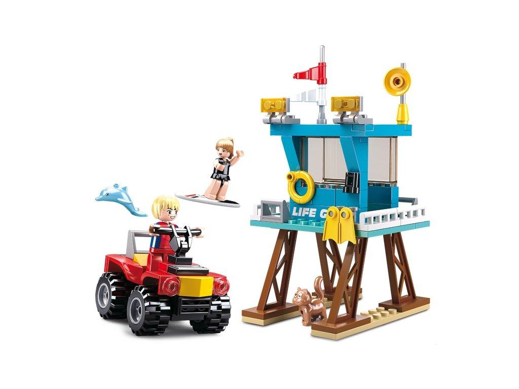Sluban Town Strážci pláží M38-B0670 Strážní věž a čtyřkolka