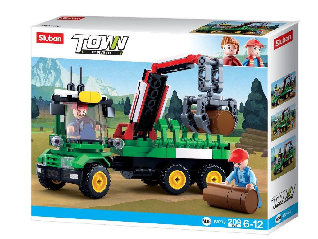 Sluban Town Farma M38-B0778 Traktor s přívěsem na klády