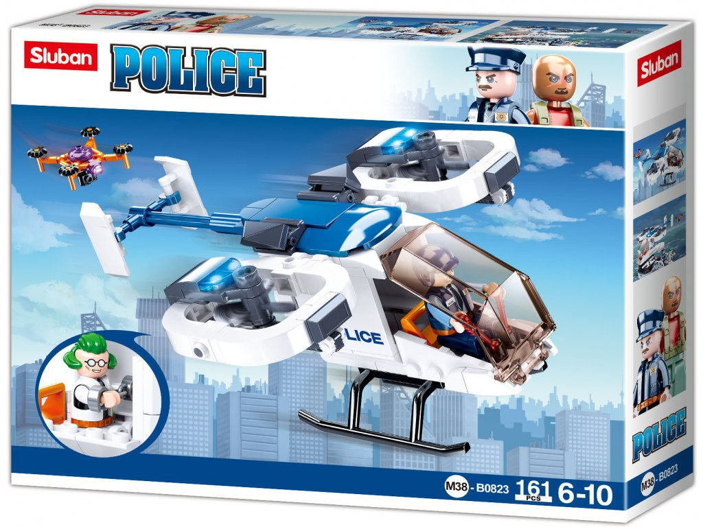 Sluban Policie M38-B0823 Policejní helikoptéra s dronem na převoz vězňů