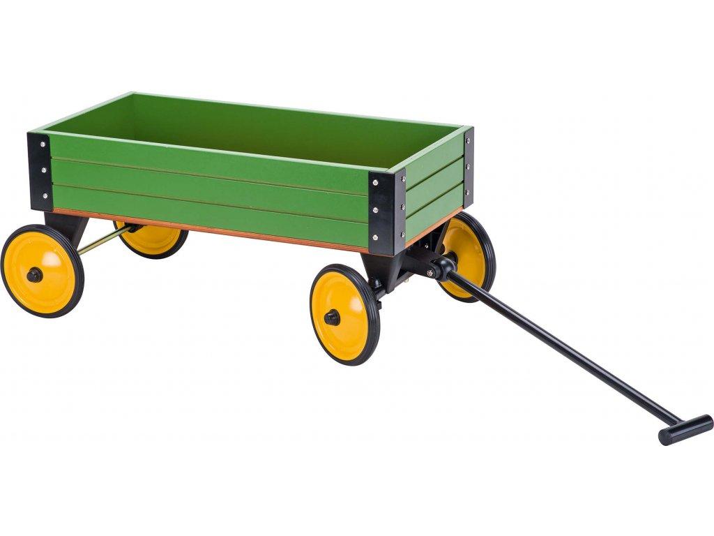 Plechový zelený ruční vozík sřiditelnou ojí agumovými koly