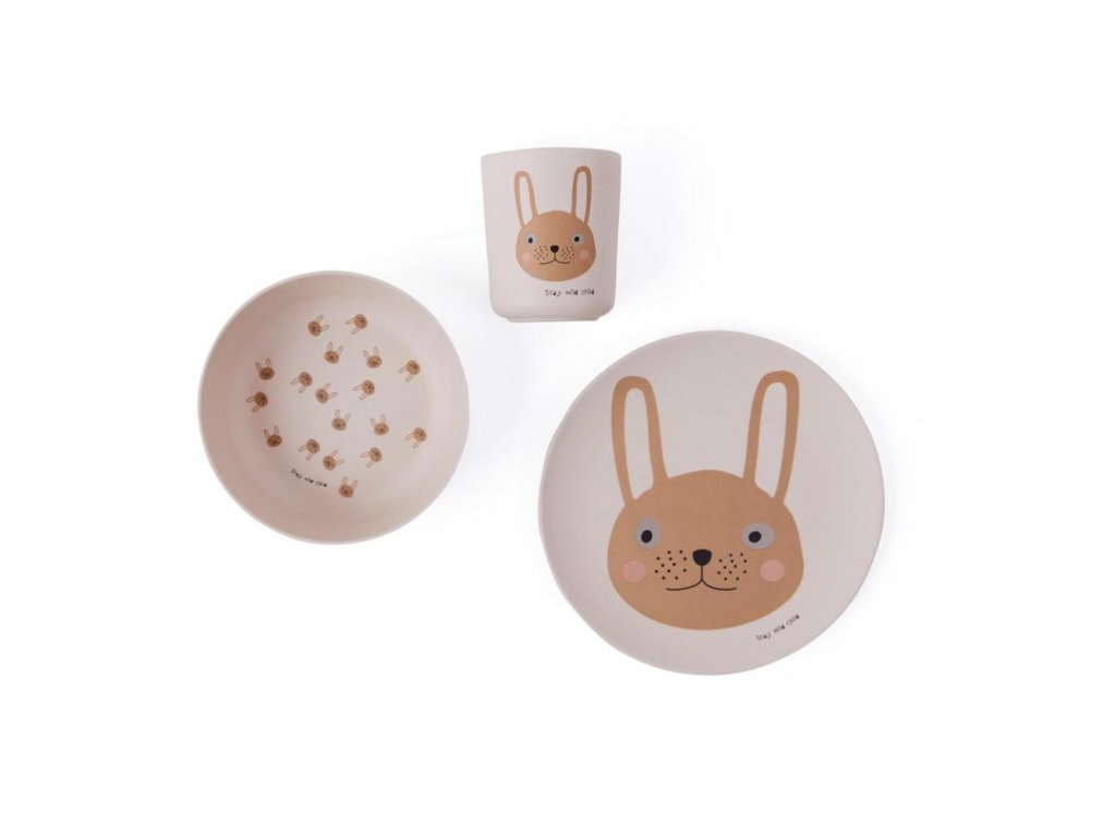 Rabbit Bamboo Tableware Set Bamboo Dinning M1016 402 Rose 1000x