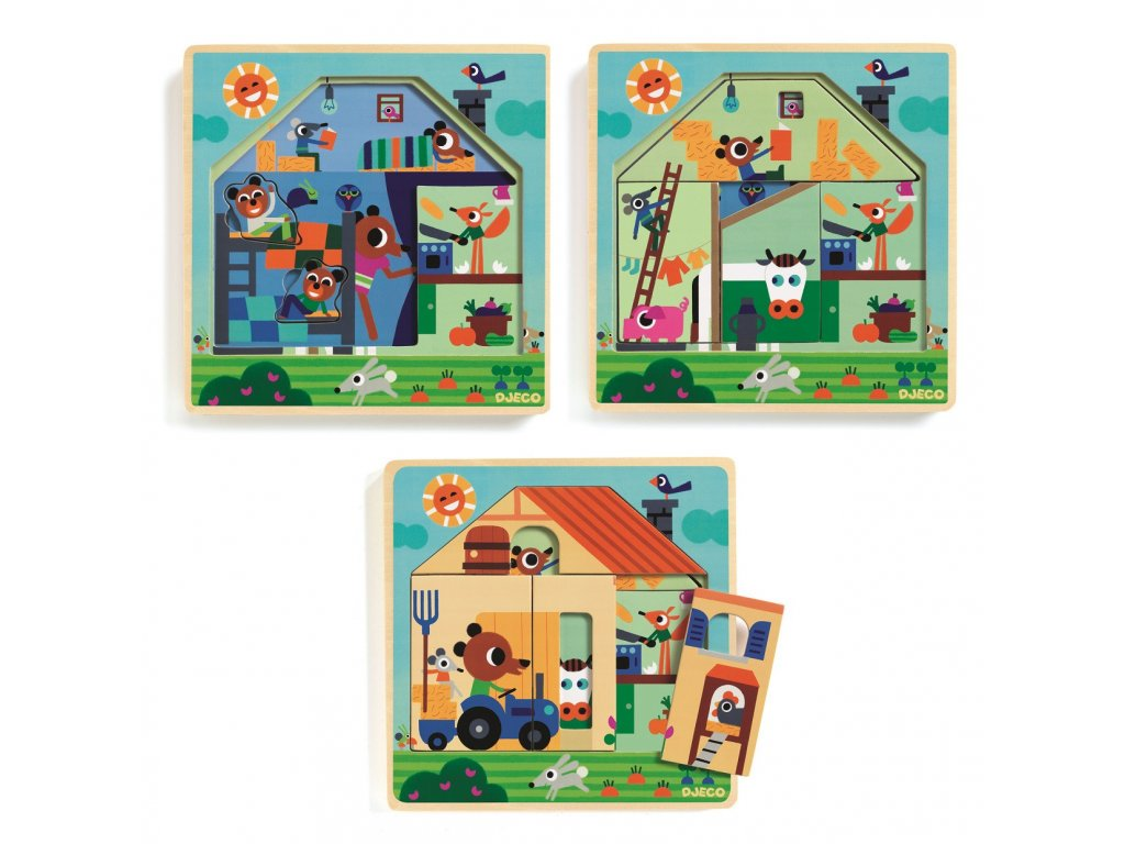 1131249 4 drevene trivrstve puzzle djeco na statku