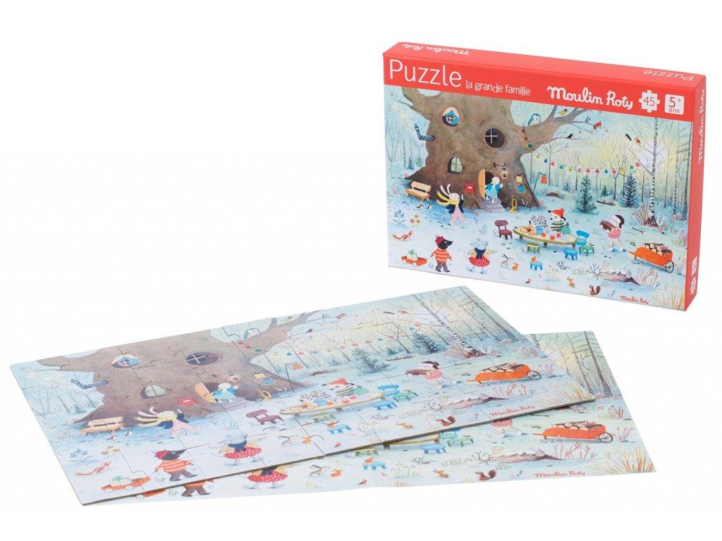 Puzzle paysage d hiver 45 pieces La Grande famille Moulin Roty