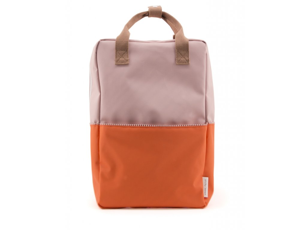 1801396 Sticky Lemon product backpack large colour blocking royal orange, pastry pink,