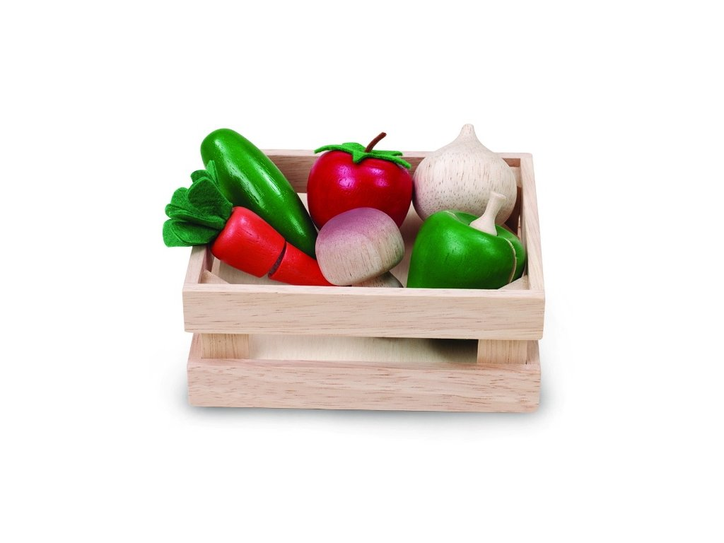 dřevěná bedýnka se zeleninou