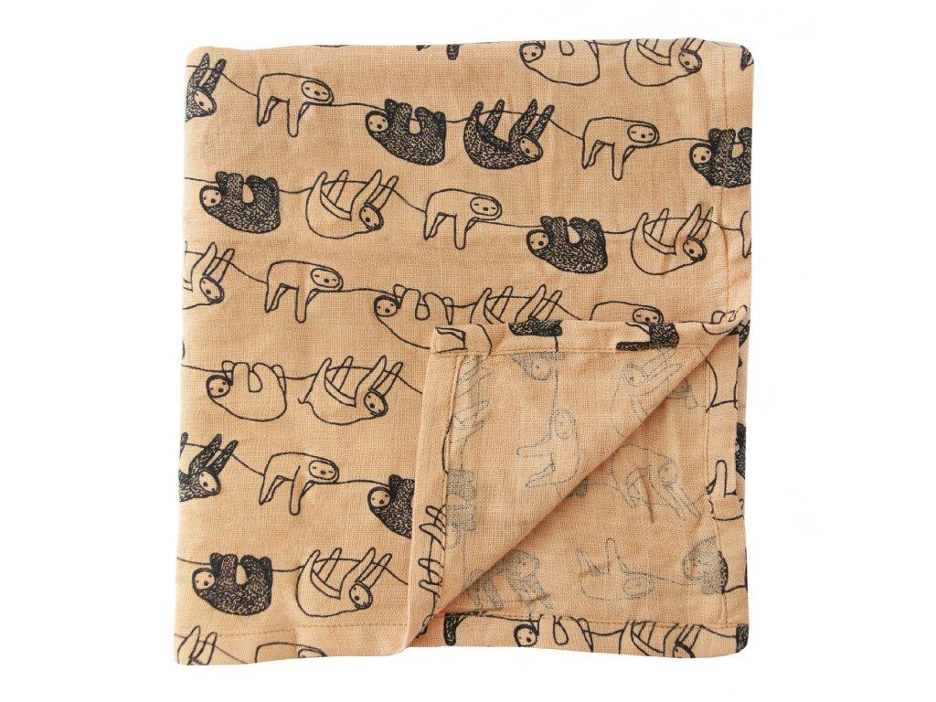 Bavlněná plenka Muslin cloths - Silly Sloth - 55 cm, set 3 ks