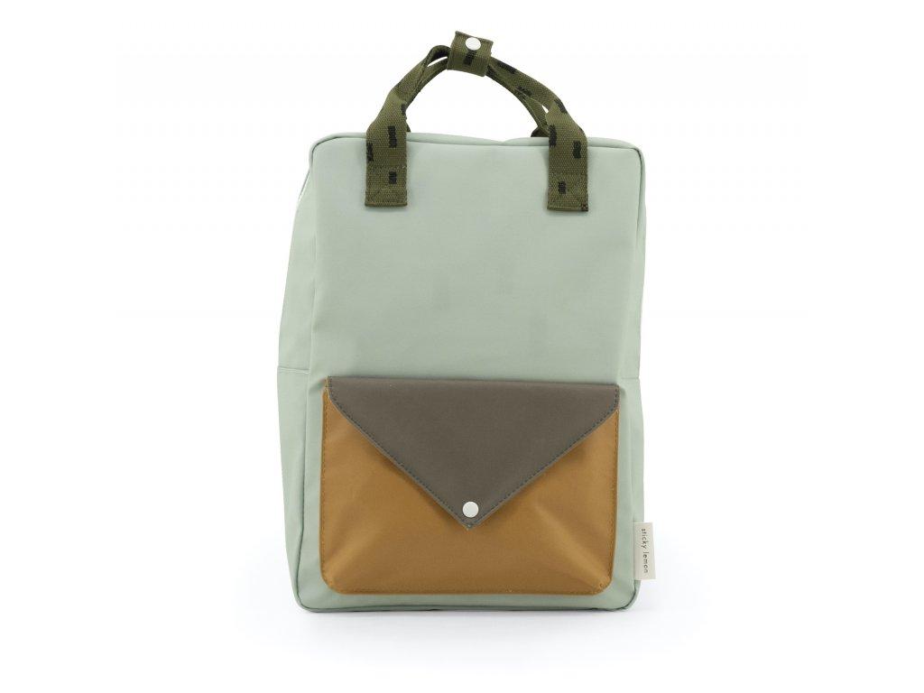 1801572 Sticky Lemon product backpack large sprinkles envelope sage green + moss green