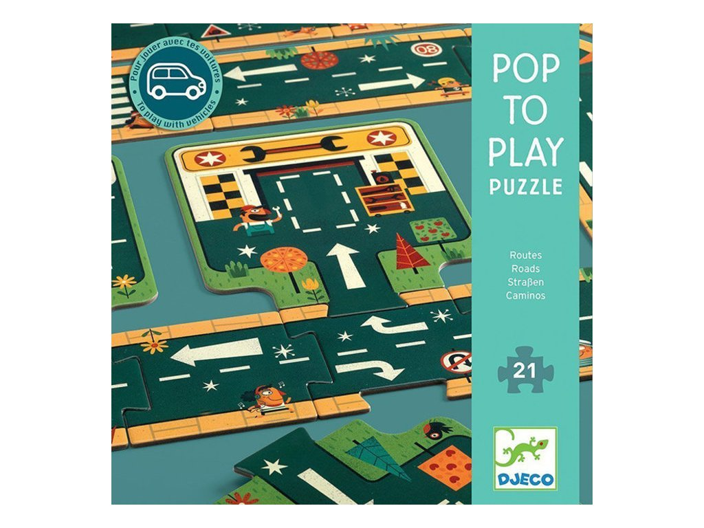 djeco djeco pop to play puzzle roads 21 pcs 2