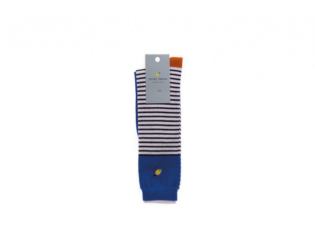 Pruhované podkolenky Ink blue stripes - Sticky Lemon 28/31