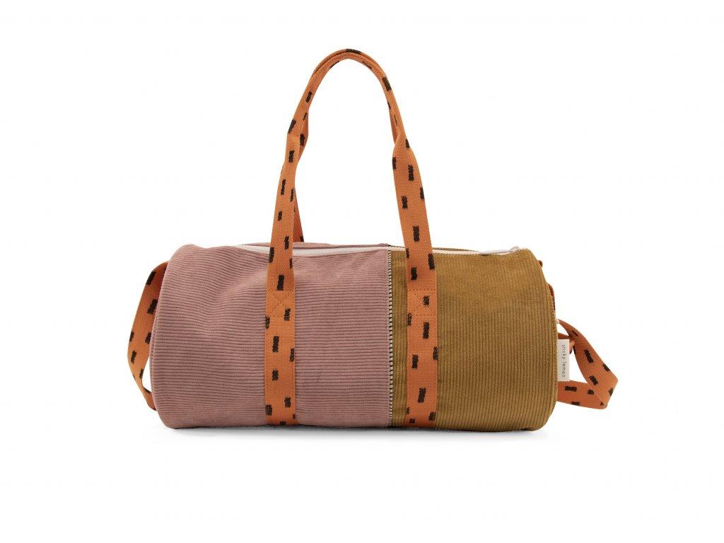 1801823 Sticky Lemon product duffle bag dusty pink + dijon + carrot orange