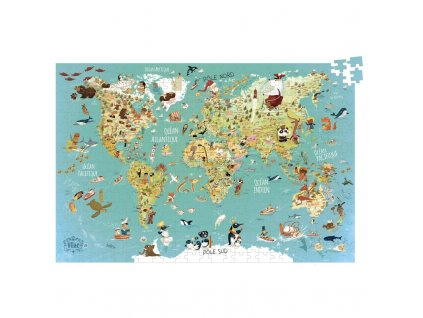 world map cardboard puzzle french version