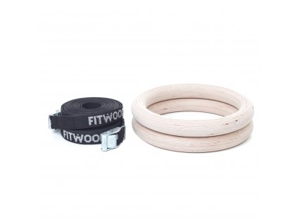 FitWood OLYMPIC GYM RINGS Birch Wood Black Strap Product Picture