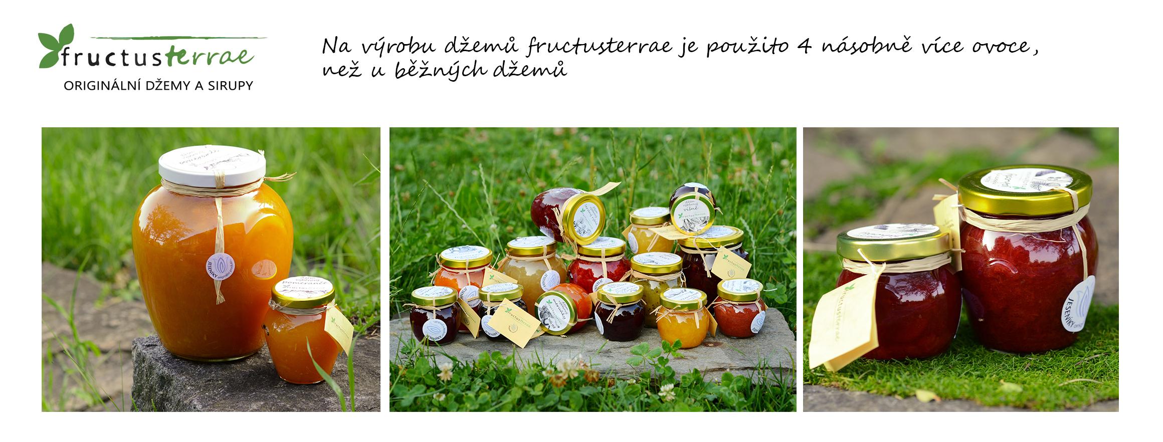 Na výrobu džemů fructusterraje je použito 4 násobně více ovoce, než u běžných džemů