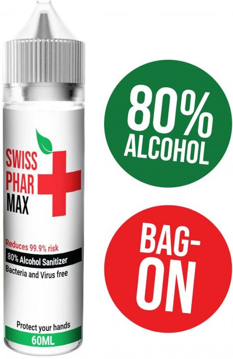Hand Sanitizer Swiss PharMax - Antibakteriální roztok 60ml (80% alkoholu)