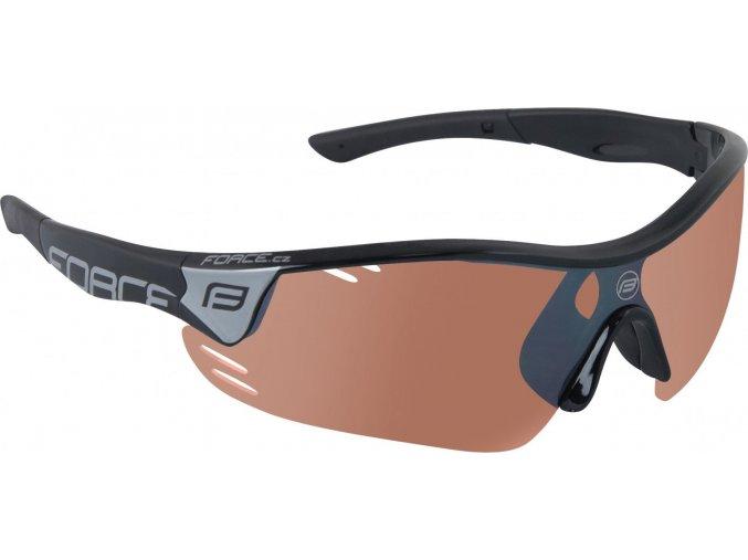 brýle FORCE RACE PRO černé, rozjasňovací skla
