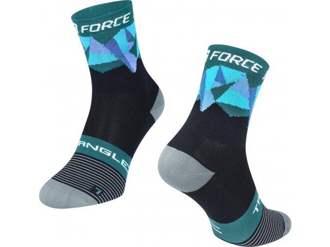 ponožky F TRIANGLE, černo-tyrkysové