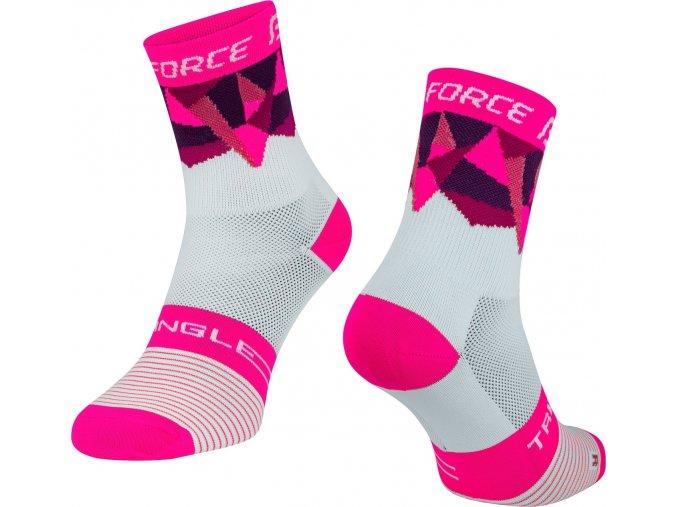 ponožky FORCE TRIANGLE, bílo-růžové