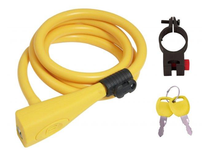zámek F spirál.silikonový 120cm/10mm +držák ,žlutý