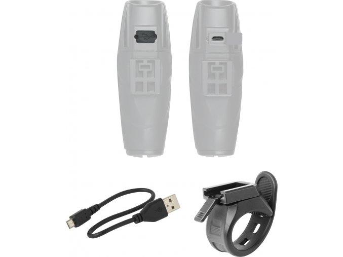 světlo přední FORCE SHARK 1000LM USB, černé