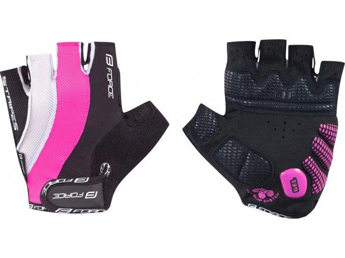 rukavice FORCE STRIPES LADY gel, růžové