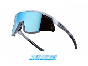 brýle FORCE SONIC bílo-šedé, modrá zrc. skla