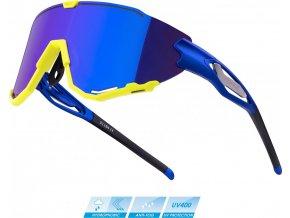 brýle FORCE CREED modro-fluo, modrá revo skla